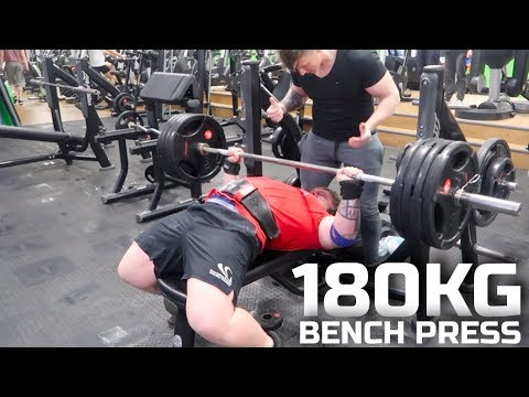 18 YEAR OLD 180KG BENCH PRESS EASY! | Crazy 4 Plate Bench