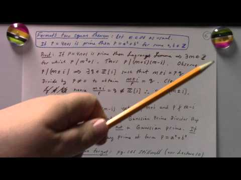 Number Theory: Lecture 11, Gaussian Integers Applied