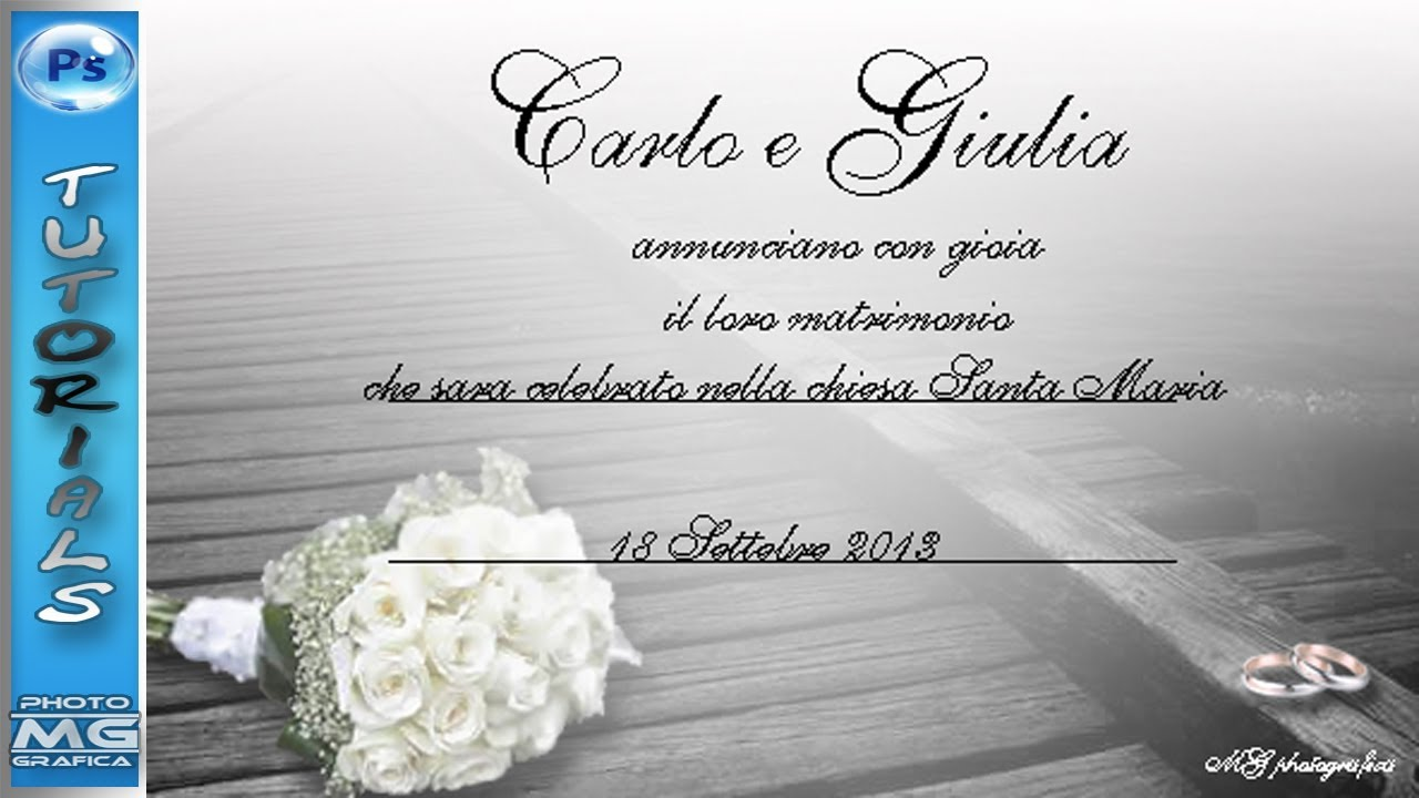 Partecipazioni Matrimonio Editabili.Invito Per Matrimonio Download Photoshop Tutorial Youtube