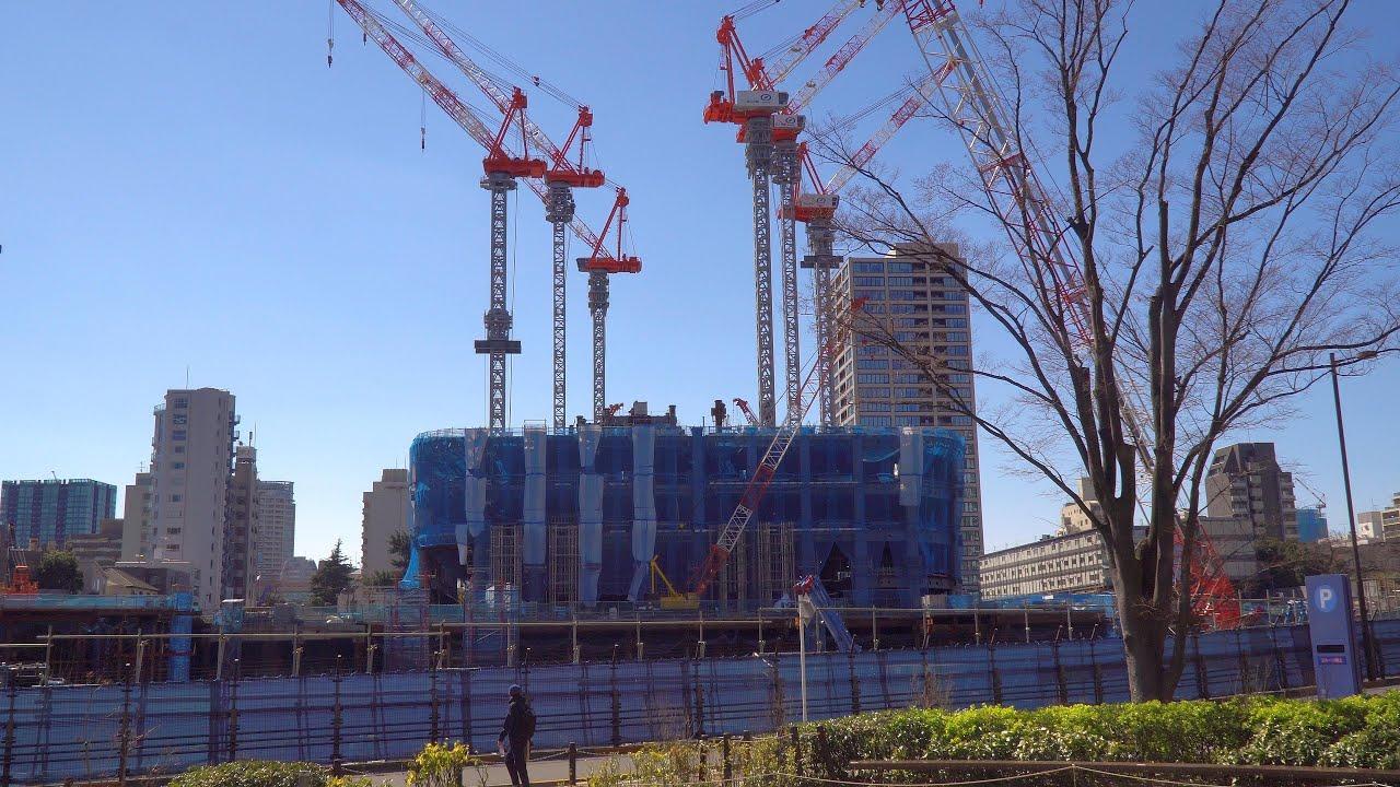 【虎ノ門・麻布台プロジェクト】 完成時高さ日本一325mの超高層ビル 「虎ノ門・麻布台地区第一種市街地再開発事業」の建設状況(2021年3月14日)
