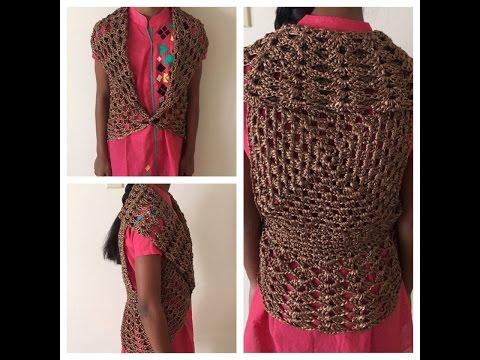 Beautiful Women shrug/vest crochet - Tamil