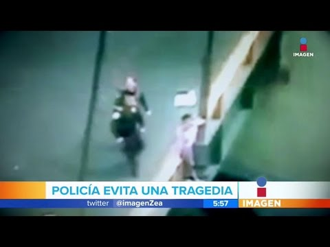 Policías la salvan de la tragedia