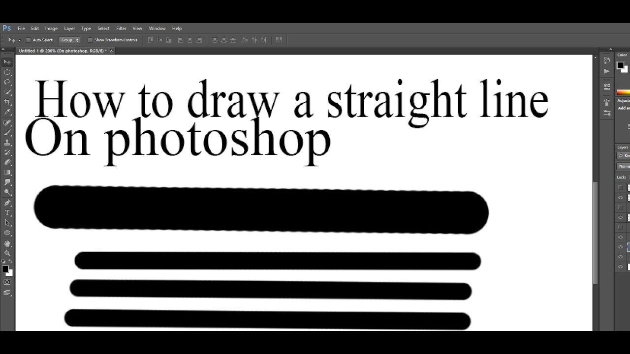 How to draw a straight line in photoshop - YouTube
