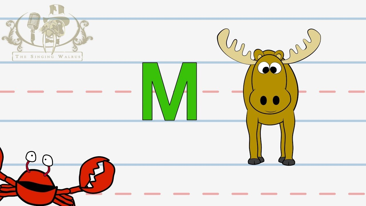 Write the letter M  Alphabet Writing lesson for children  The Singing  Walrus