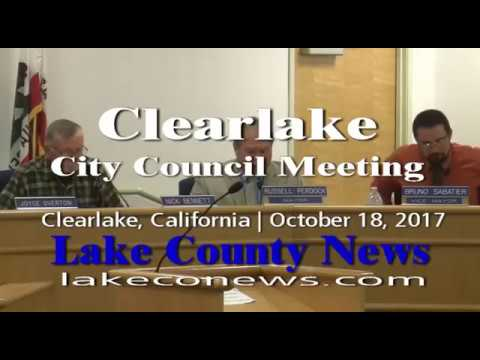 Clearlake city council special meeting October 18, 2017