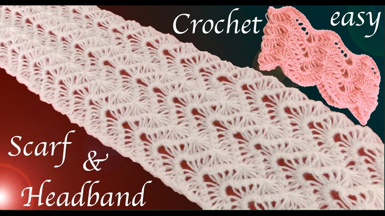 Como tejer a Crochet bufanda y diadema punto encaje en relieve ...