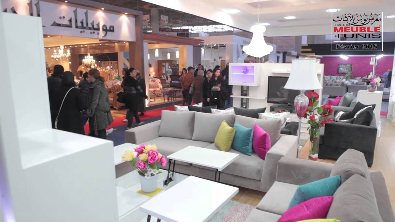 salon du meuble de tunis 2015 les salons et salles de s jour youtube. Black Bedroom Furniture Sets. Home Design Ideas