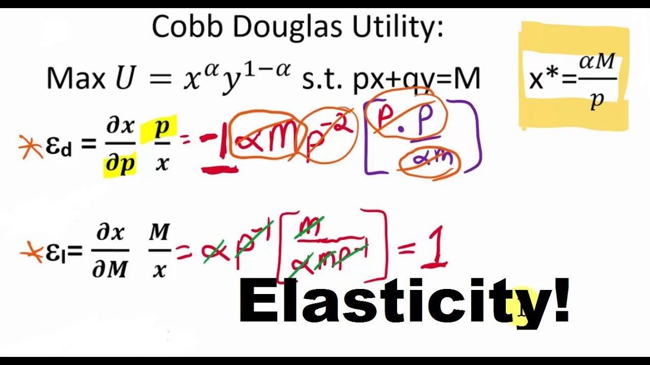 Elasticity Derivations From Marshallian Demand Functions Youtube