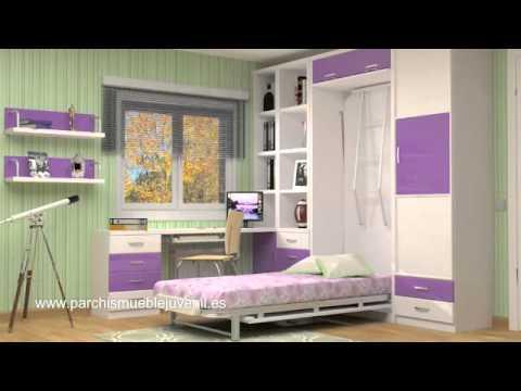 Video explicativo funcionamiento cama abatible con escr - Habitaciones juveniles espacios pequenos ...