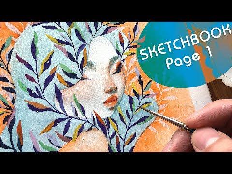 Sketchbook Page 1 // Bao Pham // Watercolor + Gouache