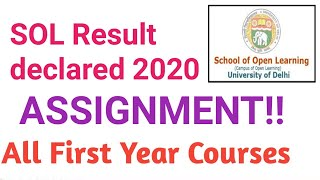 Sol Assignment result declared 2020| SOL semester mode assignment result declared 2020
