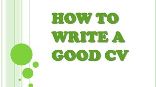 How to write a good cv [Friday Gig: Interview]