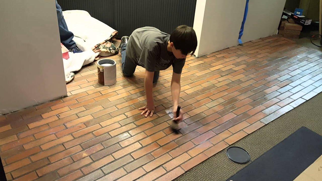 2016 02 16 Concrete wet look over floor tile