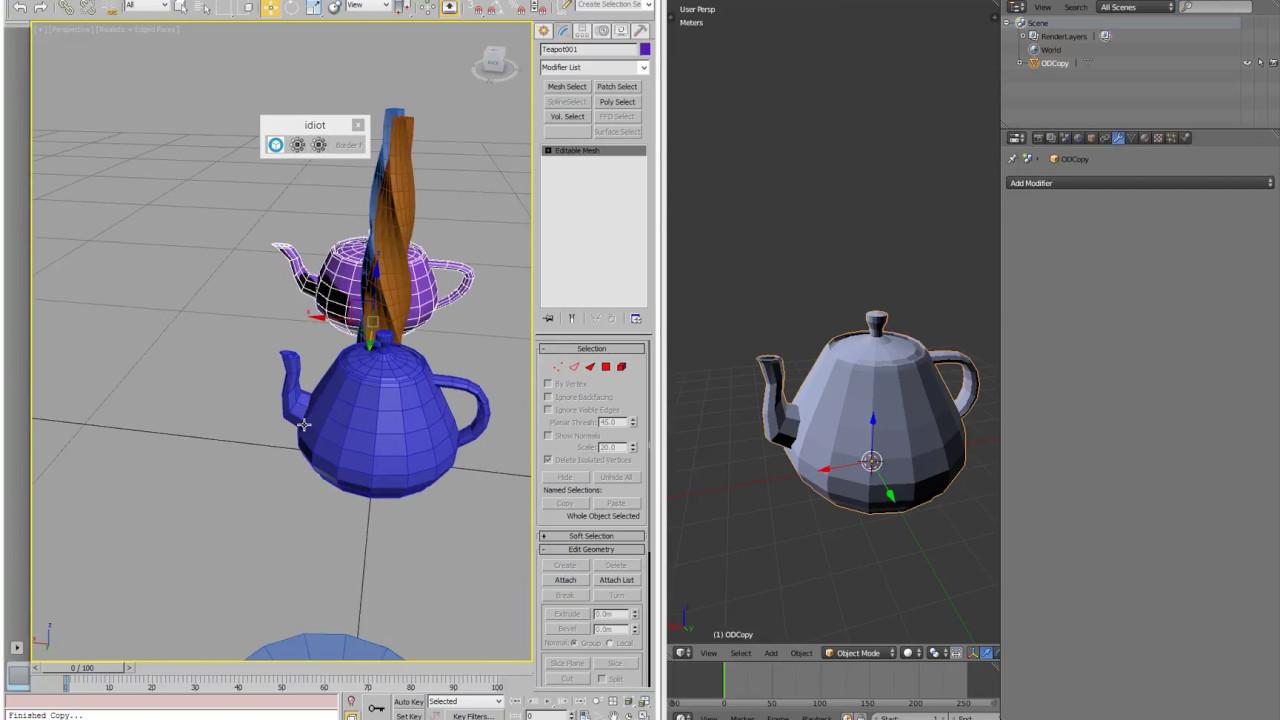 Blender - 3dsmax copy paste + create shortcuts creation in Blender