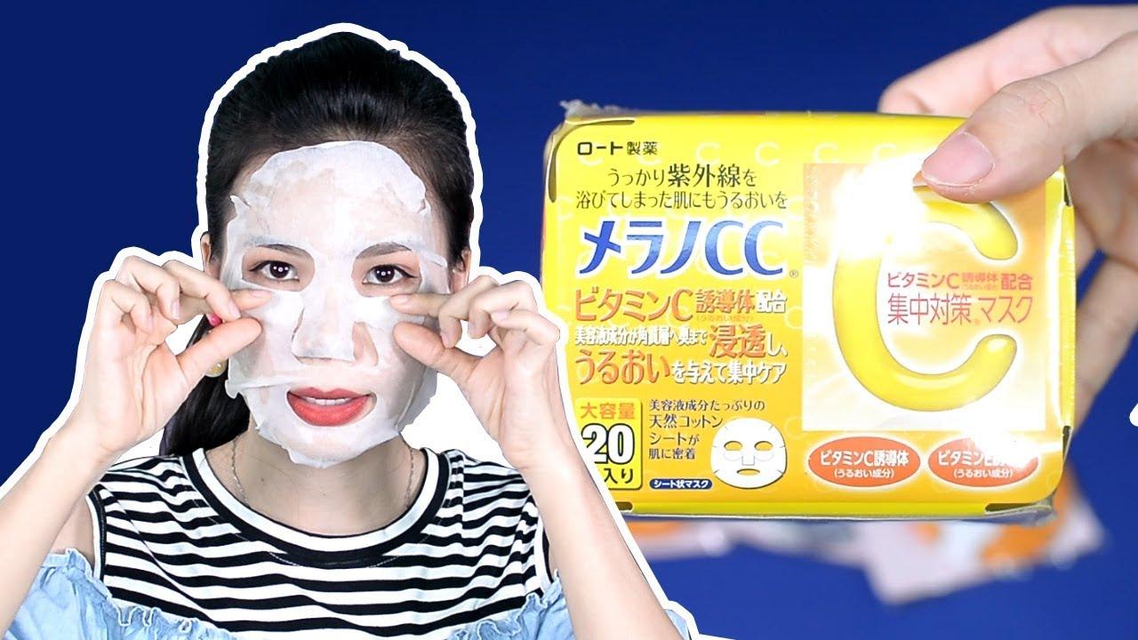 Review mặt nạ giấy Melano CC Whitening Mask của Nhật | Tiny Loly