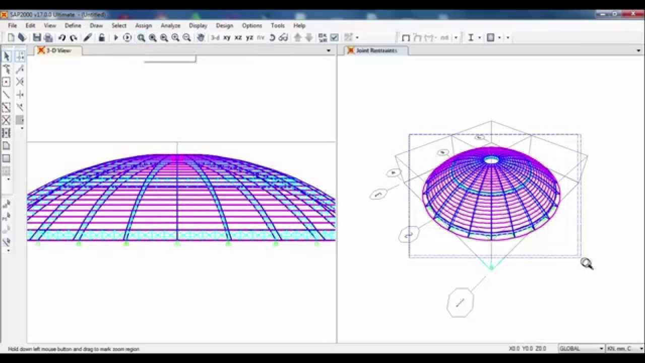 Sap2000 Spherical Dome Youtube
