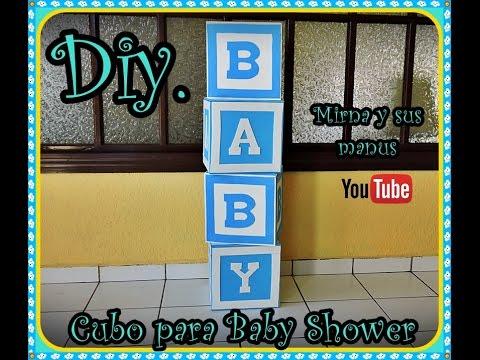 Diy cubo para baby shower mirna y sus manus diy baby - Cajas decoradas para bebes ...