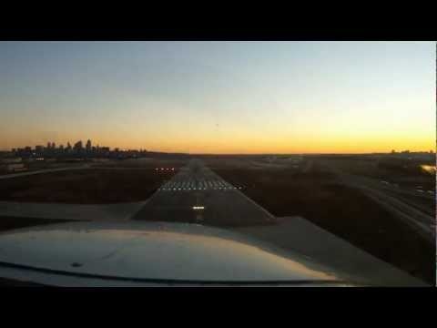 Night Landing at Kansas City Downtown Airport