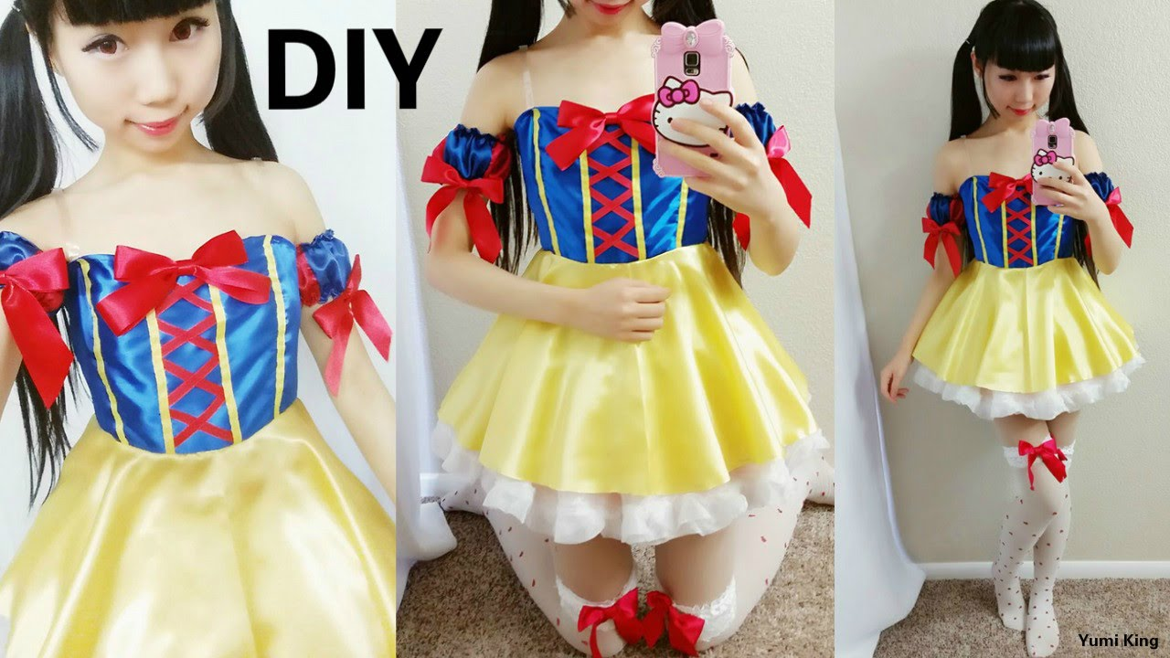 DIY Disney Princess Costume DIY Snow White Cosplay Costume Tutorial - YouTube  sc 1 st  YouTube : disney princess halloween costumes diy  - Germanpascual.Com