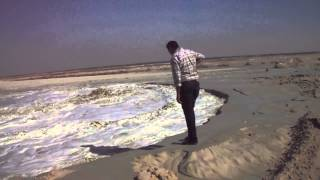 Historic scene Suez Canal new new channel water flow in the sands of the Sinai