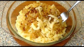 Тесто для лапши из муки твердых сортов пшеницы + лапша из него с жареным луком
