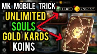 Mortal Kombat Mobile Trick. Get Unlimited Souls and Koins, Unlimited Gold Kards. MK Mobile Glitch.