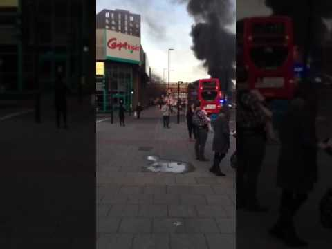 Bus on fire in south London