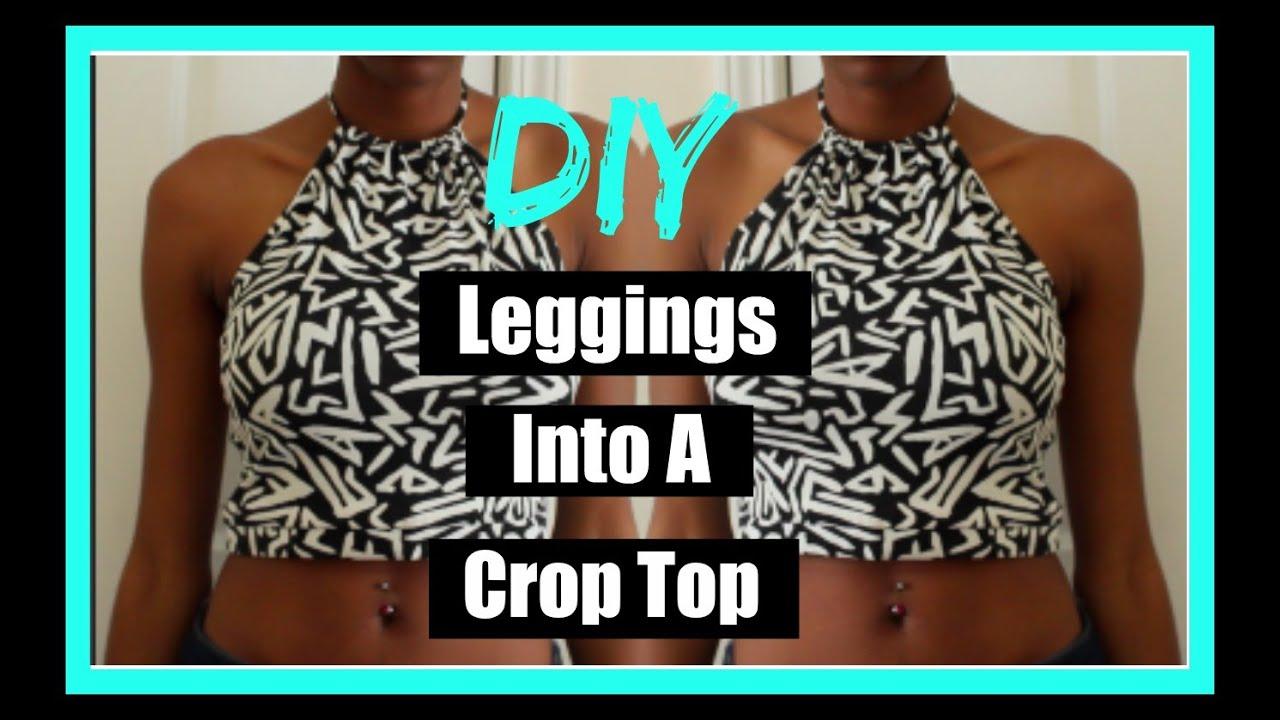 074c3afeaec6c DIY Halter Crop Top Out Of Leggings (2 Styles) - YouTube