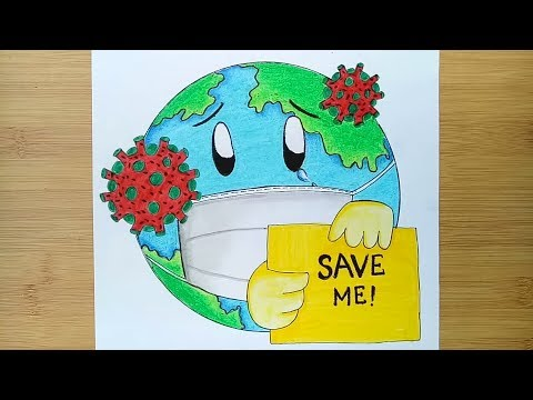 How To Draw Save Earth From Coronavirus Awareness Safety Poster Youtube