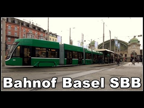Bahnof Basel SBB - Züge und Strassenbahnen in Basel / railway station Basel / Switzerland