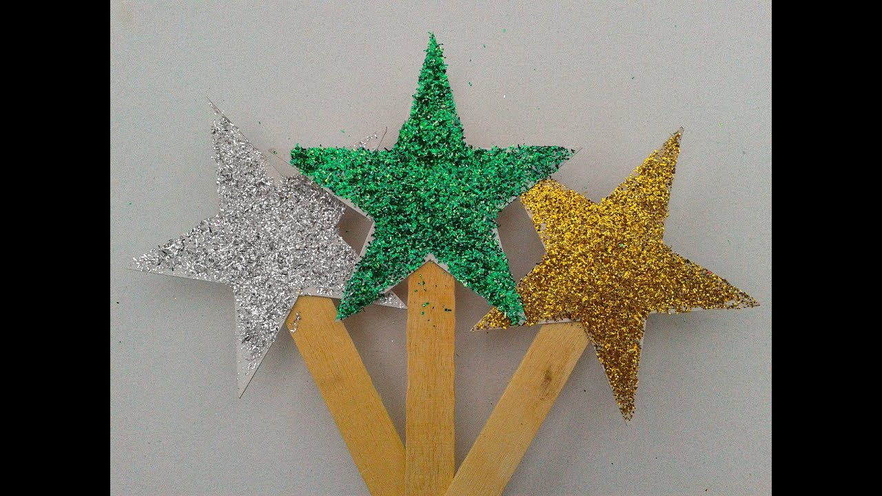 how to make diy glitter stars for decorating christmas trees