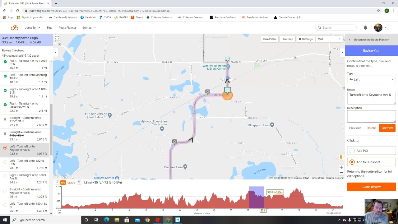 Review your route in RWGPS