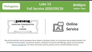 Online Service - National - 2020/09/26 20:00 - Portuguese (20:00 ET - 17:00 PT)