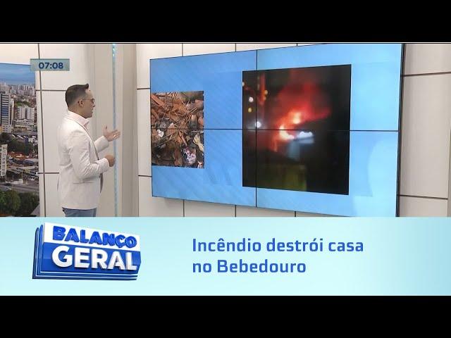 Incêndio destrói casa no Bebedouro e deixa dois feridos