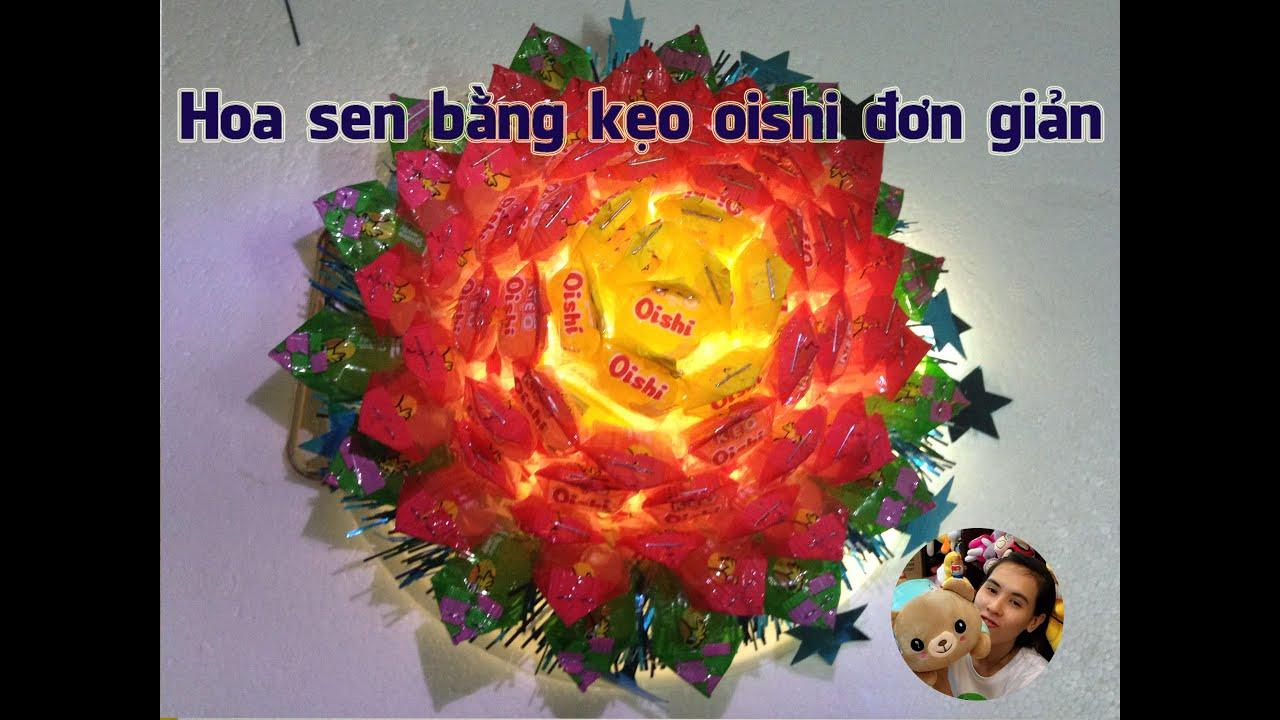 cách làm hoa sen bằng kẹo oishi đẹp đơn giản | how beautiful shower made simple candy oishi
