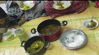 Bangladeshi eating show having lunch with my family/Rice with chicken bottle gourd curry,fish curry
