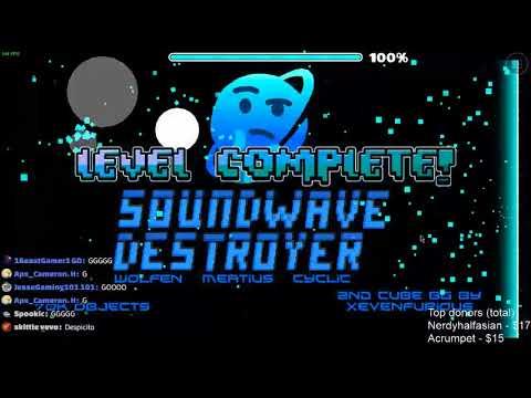 Sound wave destroyer 100% (Insane Demon?) by meatius - (On Stream) | Geometry Dash