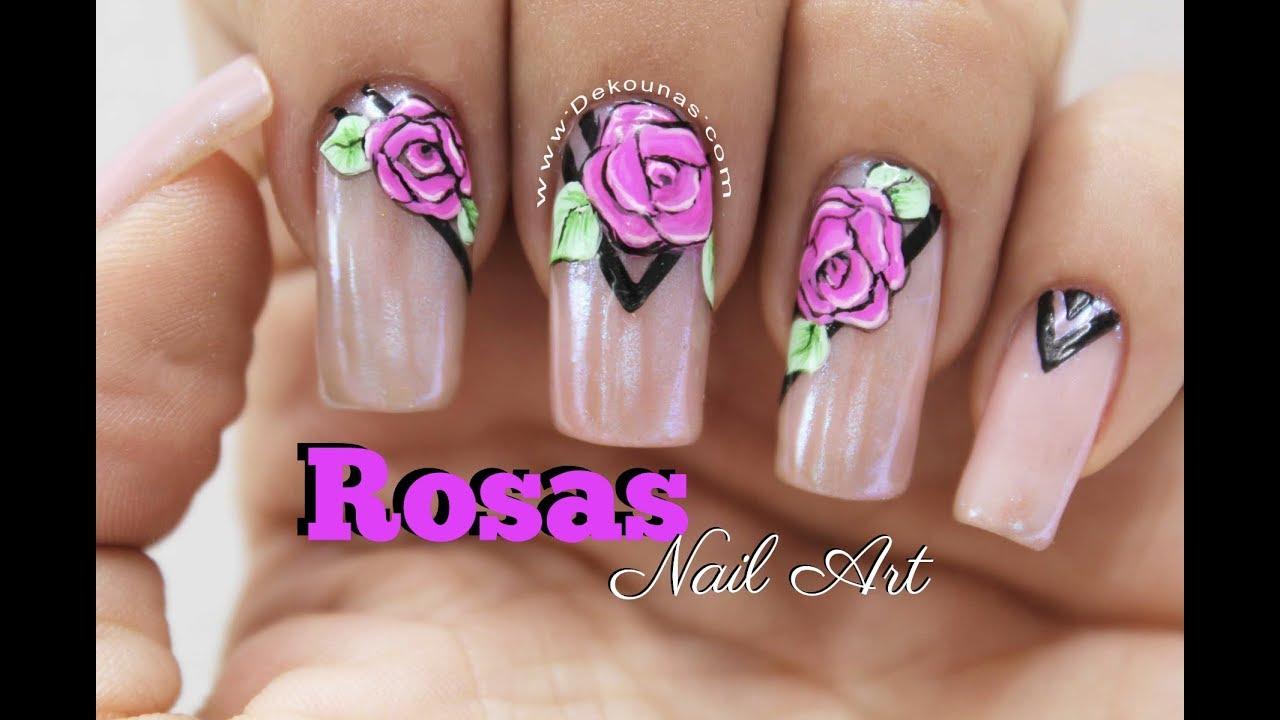 Diseño De Uñas Rosas Deko Uñas Roses Nail Art