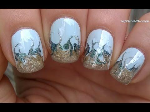 needle nail art #2 - beach inspired