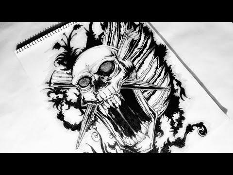 How to draw a Custom Tribal Skull Tattoo design