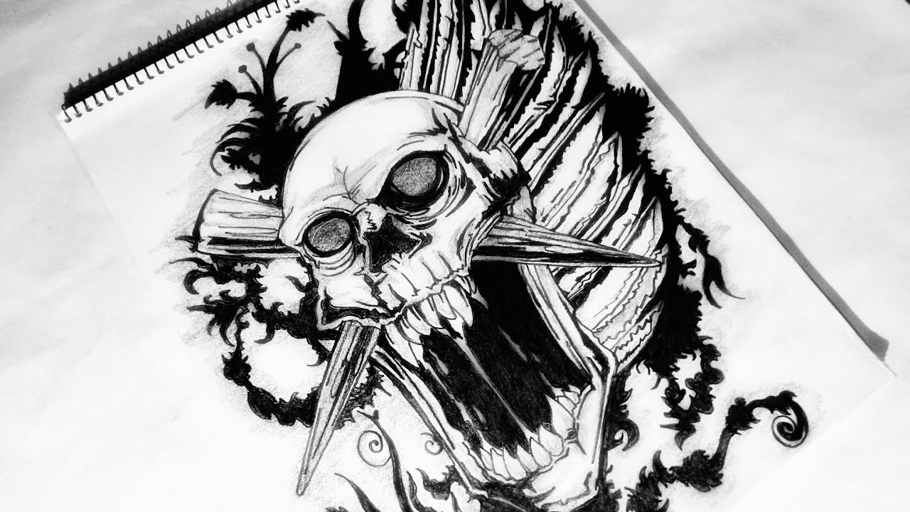 How To Draw A Custom Tribal Skull Tattoo Design Youtube