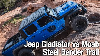 Jeep Gladiator Rubicon on 37s  vs Moab Steel Bender Trail