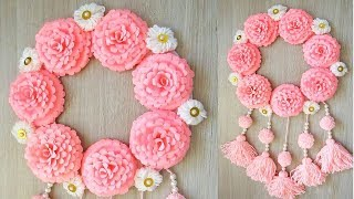 WALL HANGING TORAN DIY. TUTORIAL WALL TORAN MAKING AT HOME || BEAUTIFUL WLL HANGING TORAN WOOLEN 16