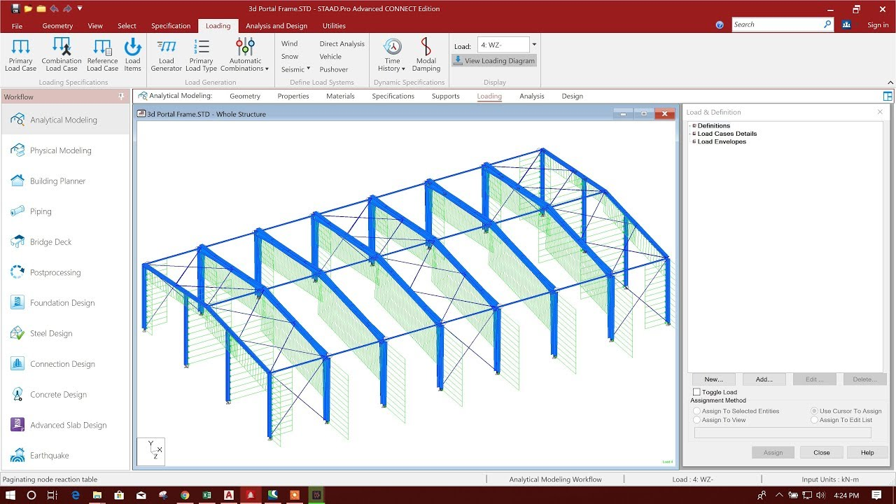 STEEL PORTAL FRAME DESIGN IN STAAD PRO CONNECT EDITION-PART2/3 - YouTube