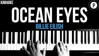 Billie Eilish - Ocean Eyes Karaoke SLOWER Acoustic Piano Instrumental Cover Lyrics