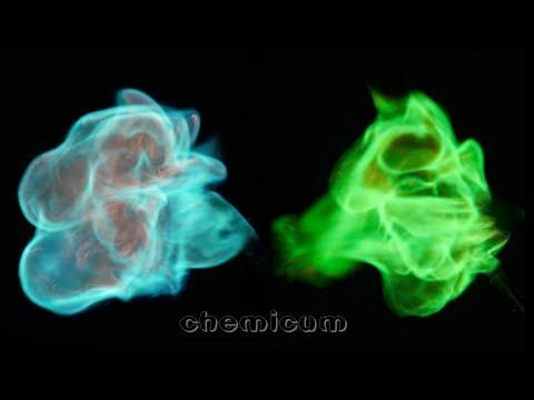 Green and blue fireballs using copper salts - 8k video