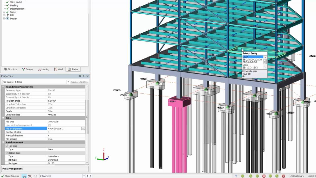 Pile Foundation Design : Pile caps and matt foundation design in tekla structural