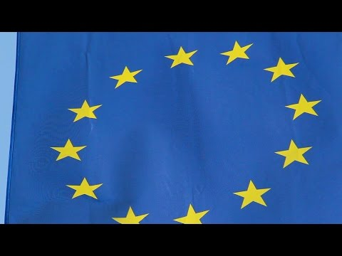 EU, European Union flag waving at summit meeting in Brussels. Stock Footage