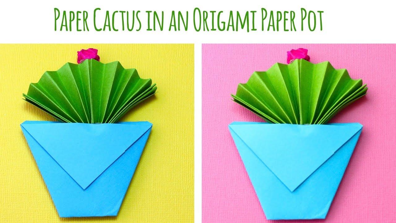 Paper Cactus In An Origami Paper Pot
