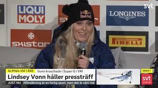 Lindsey Vonn press conference Åre Sweden 2019